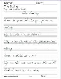 Cursive Writing Chart Printable Worksheets