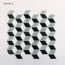 black and grey small patterned kitchen wall glass mosaic tiles