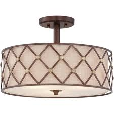 brown lattice drum shade low ceiling light with copper detailing