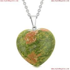 lucky puffy heart charm crystal unakite spiritual protection powers amulet pendant 18 inch necklace pa5n7k1v