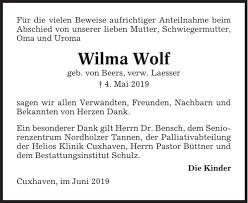 Wilma Wolf : Danksagung, Cuxhavener Nachrichten