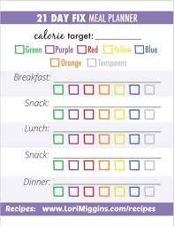 21 Day Fix Meal Chart 21 Day Fix Meal Planner Print And Plan 21 Day Fix Meal