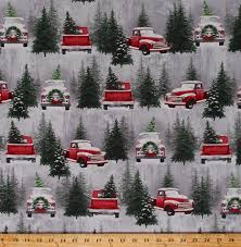 Cotton Christmas Tree Farm Vintage Red Trucks Retro Classic Pickup Truck  Pine Trees Firs Christmas Wreaths Winter Snow Snowy Landscape Scenic Holiday  ...