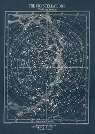 Antique Constellation Star Map Circa 1900s Vintage Map Of