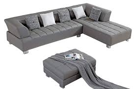 com american eagle furniture aventura collection modern bonded leather tufted sectional sofa with chaise on right and ottoman gray kitchen