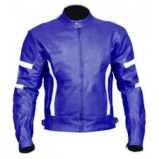 details about new mens full blue white stripes motorcycle cowhide leather jacket safety pads