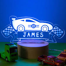 Lamps Childrens Bedrooms Personalised Racing Car Childrens Bed Time Night Lamp By Dust And