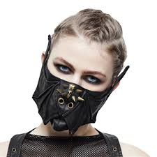 Face Mask Design Us 28 8 40 Off Steampunk Black Leather Mask Women Men Mortorcycle Rivet Face Mask Wings Design Adjustable Winter Cycling Mask In Boys Costume