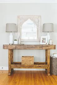 entryway tables and consoles. Rustic Wood Table With Cool Mirror Entryway Tables And Consoles