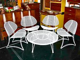 salterini wrought iron furniture. Vintage Homecrest Salterini Wrought Iron Clamshell 5-piece Patio Set Furniture