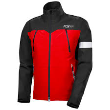 fox downpour pro waterproof jacket black red