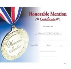 Honorable Mention Certificate Wording For Honorable Mention Certificate Jamesgrady7s Blog
