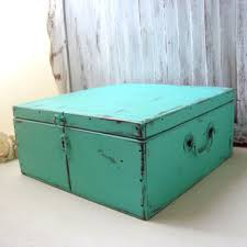 teal wooden storage box vintage shabby chic aqua wooden box we