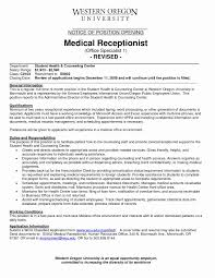 Resume Templates For Medical Office Receptionist New Medical