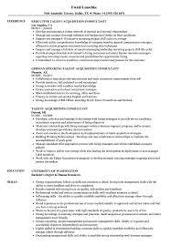 Talent Acquisition Consultant Resume Samples Velvet Jobs