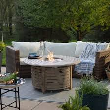 round gas fire pit table. Willow Round Propane Gas Fire Pit Table