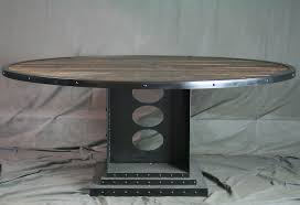 custom made vintage industrial dining table round reclaimed wood conference table office