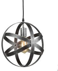 industrial metal spherical antique silver pendant light