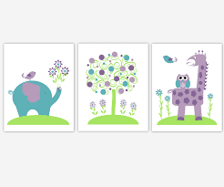 baby girls canvas nursery wall art purple lavender green teal tree elephant giraffe jungle safari zoo