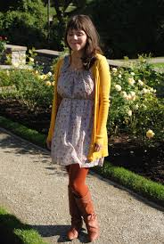 Brittany Peters - Boots, Dress, Cardigan, Tights - Shakespeare Gardens |  LOOKBOOK