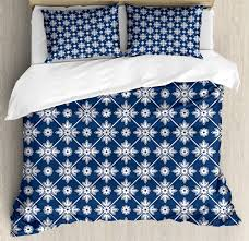 blue duvet cover set checd pattern with abstract spring blossoms folkloric holland cultural pattern decorative bedding set with pillow shams