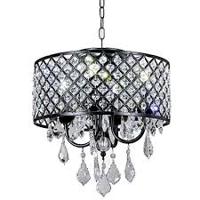 new galaxy lighting 4 light antique black round metal shade crystal chandelier pendant hanging ceiling fixture