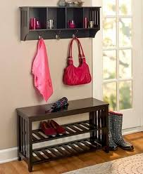 Furniture Black Hall Tree Storage Bench With Silver Hooks On Black Hall Bench