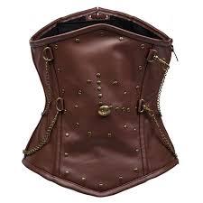 men s bustier steel boned faux leather steampunk underbust brown corset cf8058 01