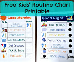 Editable Bedtime Routine Chart Free Kids Routine Charts