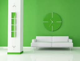 green wall paintStunning living room design with cloc set on green wall paint over