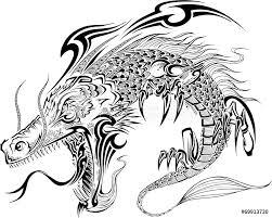 Printed Kitchen Splashbacks Dragon Doodle Sketch Tattoo Vector