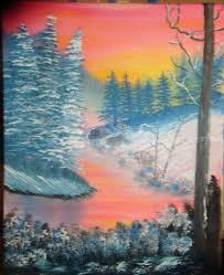 sunset winter land art paintings fine art landscape canvas oil
