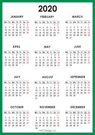 2020 Calendar Printable Free Green Monday Start