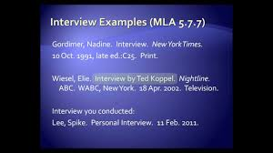 Mla Style Interviews