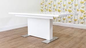 modern large rectangular white gloss extending dining table with white gloss extendable dining table