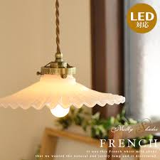 milk shade lighting 1 light pendant light socket set french glass wind milky frills glass shade dining entrance stairs kitchen natural country antique