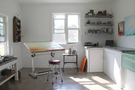 art for home office. art studio design home office industrial with concrete chrome bar height stools for d