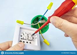 Hooking Up A Double Light Switch Installation Of Double Light Switch Stock Image Image Of