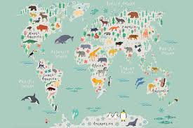 childrens map wallpaper murals for children s of the world