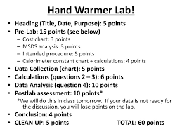 Designing A Hand Warmer Pre Lab Questions Answers Ap Chemistry Bellringers Ppt Download