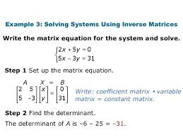 use the given inverse of the coefficient matrix to solve the following system math example 3