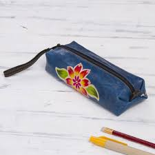 blue leather makeup case with hand painted flower cusco sky