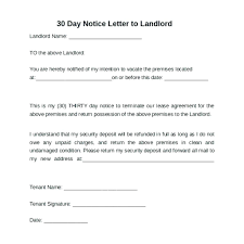 notice letter to landlord template day tenancy