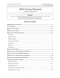 Formatting Table Of Contents Apa 6th Edition Elcho Table