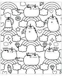 Free Pusheen Cat Coloring Pages With Rainbow Get Coloring Page