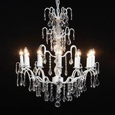 antique french cut glass le white chandelier 12 arm