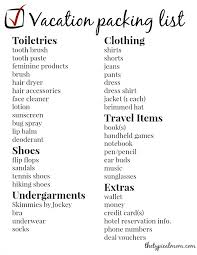Vacation Checklist Vacation Packing List The Typical Mom