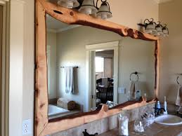 Superb Wood Framed Bathroom Mirrors Large Wall Mirror With Rustic  Carbonized Pine Frame Antique Cherry Unfinished 28