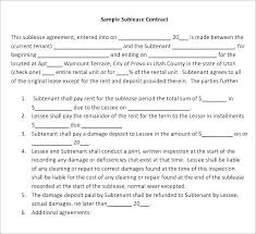 Sample Sublease Agreement Free Sublease Agreement Template