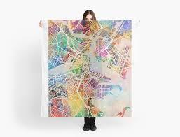 boston massachusetts street map scarves by michael tompsett